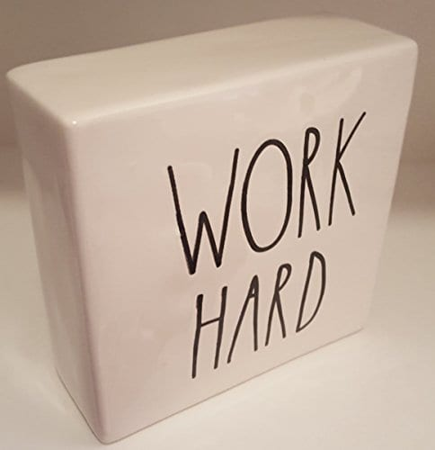 Rae Dunn WORK HARDBE BRAVE LL Decorative Paperweight Desk Office Square 0