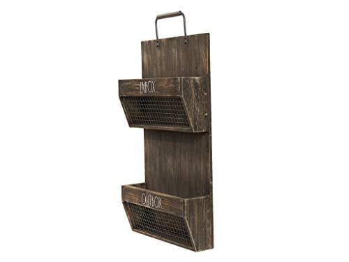 Rae Dunn Wall File Holder 2 Tier Vintage Wooden Inbox And Outbox With Galvanized Steel Wire Document And Paperwork Farmhouse Goals