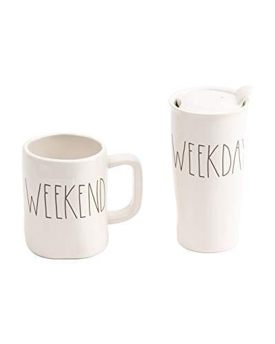 Rae Dunn Weekend Weekday Mug And Travel Tumbler Set Large Letter 0