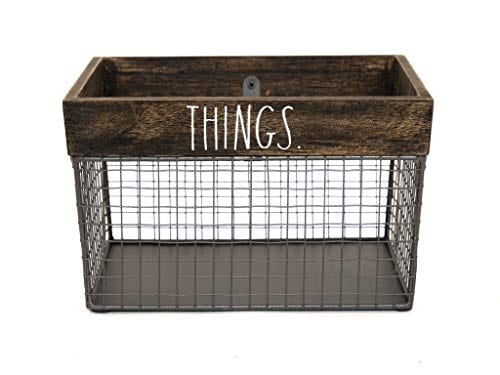 Rae Dunn by Designstyles Wire Storage Basket - Metal and Solid Wood  Organizer - Decorative Folder Bin - for Office, Bedroom, Living Room,  Closet and ...