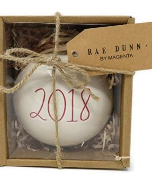 Rae Dunn By Magenta 2018 Ceramic LL Red Letter Round Bulb Christmas Tree Ornament 0 300x360