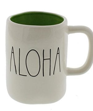 Rae Dunn By Magenta ALOHA Ceramic Coffee Mug Green Interior 0 300x360