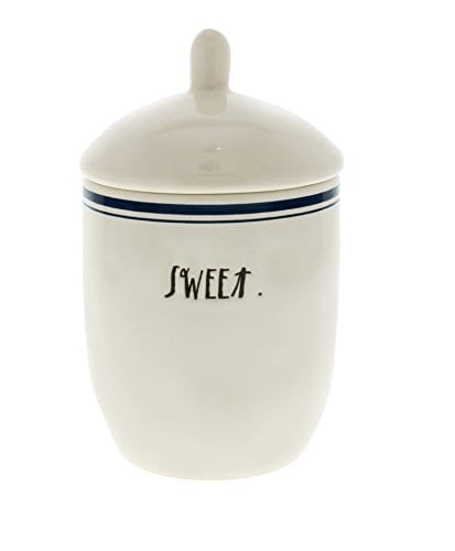 Rae Dunn By Magenta Blue Line SWEET Ceramic Sugar Bowl Jar 0