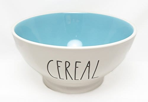 Rae Dunn By Magenta CEREAL Ice Cream Cereal Bowl Blue Interior 0
