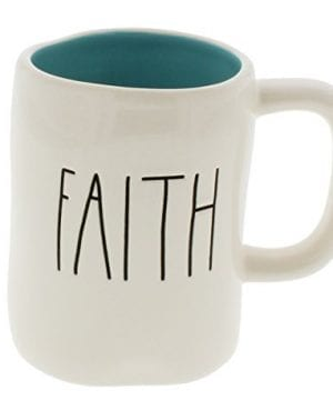 Rae Dunn By Magenta FAITH Ceramic LL Coffee Mug Blue Interior 0 300x360