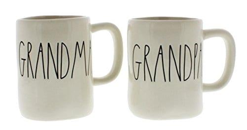 Rae Dunn By Magenta GRANDMA And GRANDPA Ceramic Coffee Mug Set 0