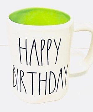 Rae Dunn By Magenta HAPPY BIRTHDAY In Large Letters With Green Interior Coffee Tea Mug 0 300x360