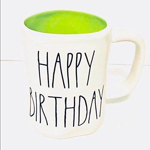 Rae Dunn By Magenta HAPPY BIRTHDAY In Large Letters With Green Interior Coffee Tea Mug 0