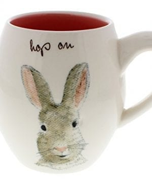Rae Dunn By Magenta HOP ON Easter Bunny Coffee Mug Pink Interior 0 300x360
