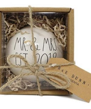 Rae Dunn By Magenta MR MRS EST 2018 Ceramic LL Round Bulb Christmas Tree Ornament 0 0 300x360