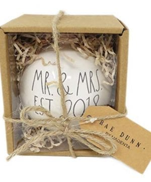 Rae Dunn By Magenta MR MRS EST 2018 Ceramic LL Round Bulb Christmas Tree Ornament 0 300x360