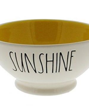 Rae Dunn By Magenta SUNSHINE Ice Cream Cereal Bowl Yellow Interior 0 300x360