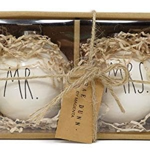 Rae Dunn By Magenta Set Of 2 MR MRS Ceramic LL Round Bulb Christmas Tree Ornaments 0 300x315