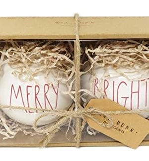 Rae Dunn By Magenta Set Of 2 Merry Bright Ceramic LL Red Letter Round Bulb Christmas Tree Ornaments 0 0 300x324