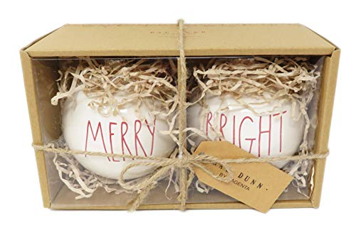 Rae Dunn By Magenta Set Of 2 Merry Bright Ceramic LL Red Letter Round Bulb Christmas Tree Ornaments 0 0