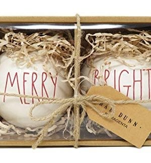 Rae Dunn By Magenta Set Of 2 Merry Bright Ceramic LL Red Letter Round Bulb Christmas Tree Ornaments 0 300x324