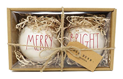 Rae Dunn By Magenta Set Of 2 Merry Bright Ceramic LL Red Letter Round Bulb Christmas Tree Ornaments 0