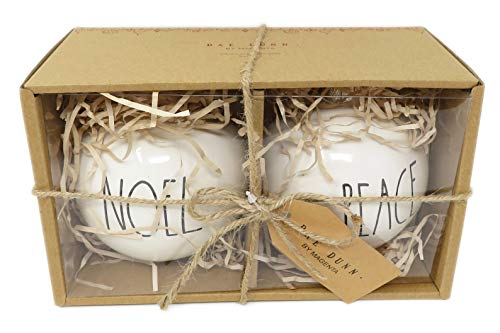 Rae Dunn By Magenta Set Of 2 Noel Peace Ceramic LL Round Bulb Christmas Tree Ornaments 0 0