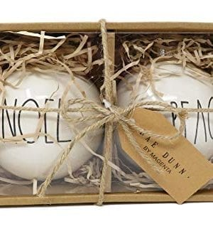 Rae Dunn By Magenta Set Of 2 Noel Peace Ceramic LL Round Bulb Christmas Tree Ornaments 0 300x325