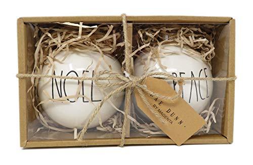 Rae Dunn By Magenta Set Of 2 Noel Peace Ceramic LL Round Bulb Christmas Tree Ornaments 0