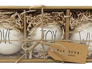 Rae Dunn By Magenta Set Of 3 Love Joy Wish Ceramic LL Round Bulb Christmas Tree Ornaments 0 300x224