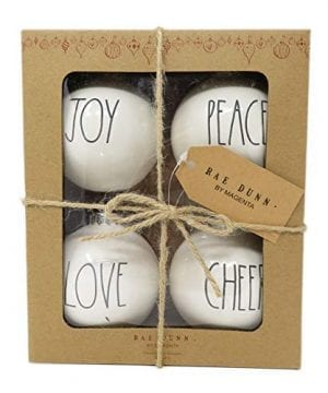 Rae Dunn By Magenta Set Of 4 Joy Peace Love Cheer Ceramic LL Round Bulb Christmas Tree Ornaments 0 300x360