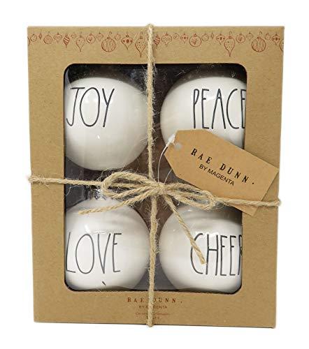 Rae Dunn By Magenta Set Of 4 Joy Peace Love Cheer Ceramic LL Round Bulb Christmas Tree Ornaments 0