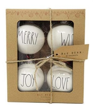 Rae Dunn By Magenta Set Of 4 Merry Wish Joy Love Ceramic LL Round Bulb Christmas Tree Ornaments 0 300x360