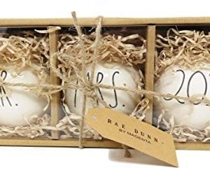 Rae Dunn By Magenta Set Of MR MRS 2018 Ceramic LL Round Bulb Christmas Tree Ornaments 0 300x253