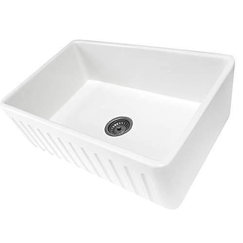 Reversible 33 Inch White Fireclay Farmhouse Kitchen Sink 0 2