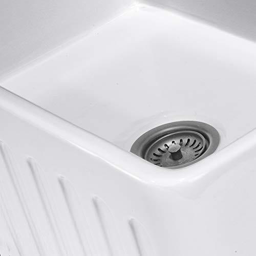 Reversible 33 Inch White Fireclay Farmhouse Kitchen Sink 0 3
