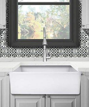 Reversible 33 Inch White Fireclay Farmhouse Kitchen Sink 0 300x360
