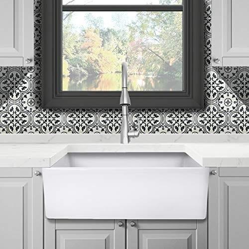 Reversible 33 Inch White Fireclay Farmhouse Kitchen Sink 0