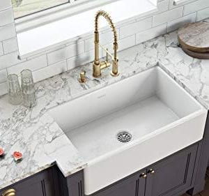 Ruvati 30 X 20 Inch Fireclay Reversible Farmhouse Apron Front Kitchen Sink Single Bowl White RVL2100WH 0 0 300x281