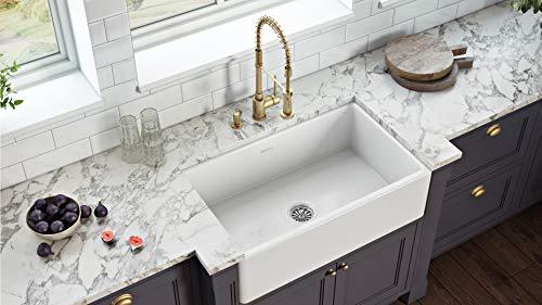 Ruvati 30 X 20 Inch Fireclay Reversible Farmhouse Apron Front Kitchen Sink Single Bowl White RVL2100WH 0 0