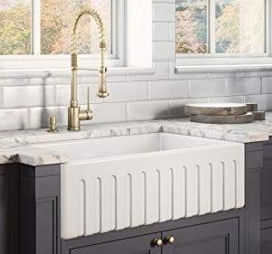 Ruvati 30 X 20 Inch Fireclay Reversible Farmhouse Apron Front Kitchen Sink Single Bowl White RVL2100WH 0 2 300x281