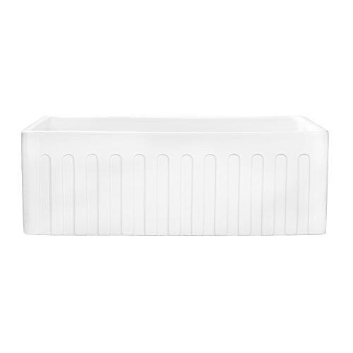 Ruvati 30 X 20 Inch Fireclay Reversible Farmhouse Apron Front Kitchen Sink Single Bowl White RVL2100WH 0 5