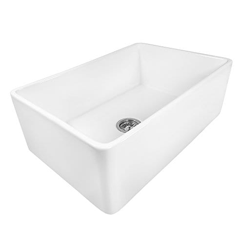 Ruvati 30 X 20 Inch Fireclay Reversible Farmhouse A Front Kitchen Sink Single Bowl White Rvl2100wh