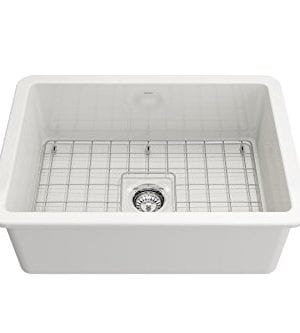Sotto Undermount Fireclay 27 In Single Bowl Kitchen Sink With Protective Bottom Grid And Strainer In White 0 1 300x333