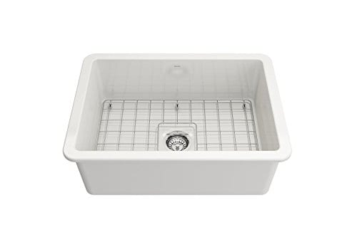 Sotto Undermount Fireclay 27 In Single Bowl Kitchen Sink With Protective Bottom Grid And Strainer In White 0 1