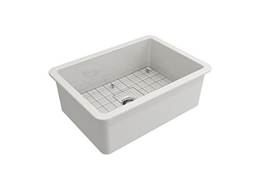 Sotto Undermount Fireclay 27 In Single Bowl Kitchen Sink With Protective Bottom Grid And Strainer In White 0 2