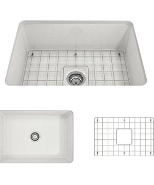 Sotto Undermount Fireclay 27 In Single Bowl Kitchen Sink With Protective Bottom Grid And Strainer In White 0 300x360
