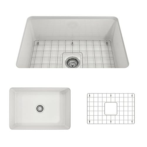 Sotto Undermount Fireclay 27 In Single Bowl Kitchen Sink With Protective Bottom Grid And Strainer In White 0