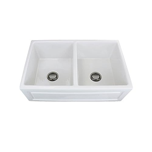 Transolid FUDH332010 Versailles Fireclay Equal Double Farmhouse Kitchen Sink 327 In L X 197 In W X 99 In H White 0 2