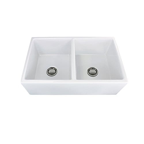 Transolid FUDH332010 Versailles Fireclay Equal Double Farmhouse Kitchen Sink 327 In L X 197 In W X 99 In H White 0 3