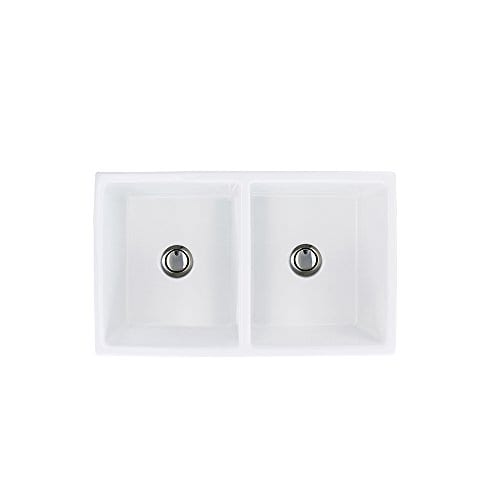 Transolid FUDH332010 Versailles Fireclay Equal Double Farmhouse Kitchen Sink 327 In L X 197 In W X 99 In H White 0 4