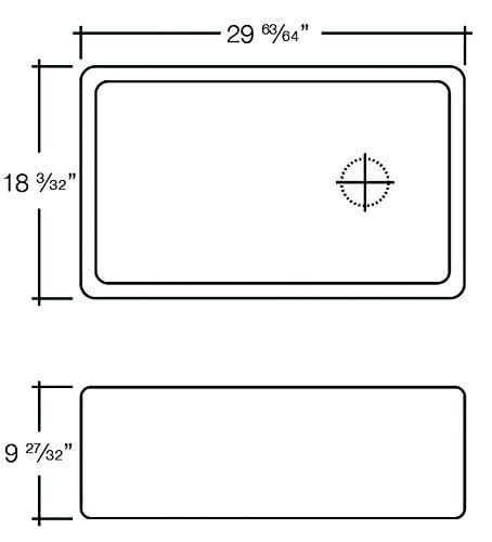 Transolid FUSS301810 Porter Fireclay Undermount Reversible Plain Super Single Bowl Farmhouse Kitchen Sink 30 L X 18 W X 10 H White 0 1
