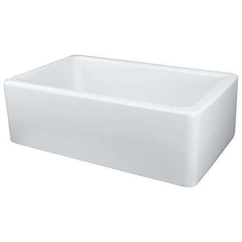 Transolid FUSS301810 Porter Fireclay Undermount Reversible Plain Super Single Bowl Farmhouse Kitchen Sink 30 L X 18 W X 10 H White 0