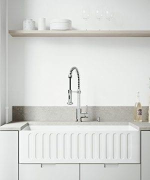 VIGO 36 Inch Farmhouse Apron Single Bowl Matte Stone Kitchen Sink 0 1 300x360