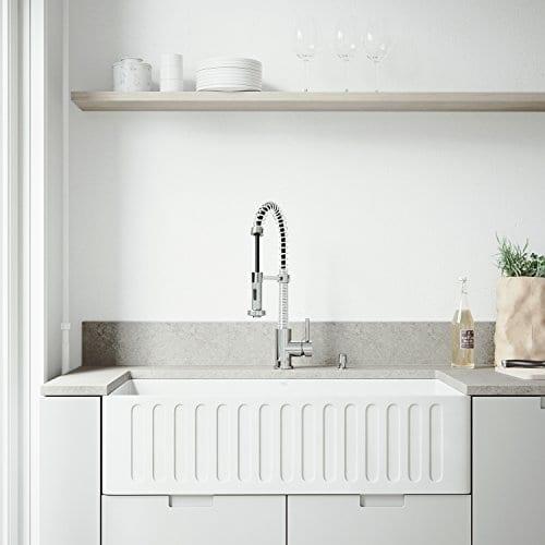 VIGO 36 Inch Farmhouse Apron Single Bowl Matte Stone Kitchen Sink 0 1